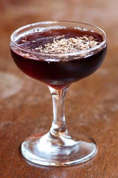 The Masquerade cocktail made with Van Gogh Dutch Caramel Vodka, Dow's Ruby Port, creme de cacao and chocolate shavings.