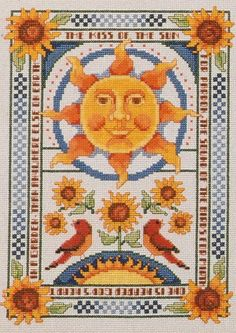 Sun, Moon, and Stars Cross Stitch from American School of Needlework on Etsy, $6.00