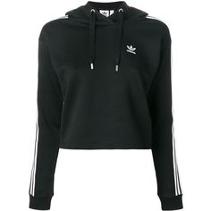 Adidas Originals 3-stripes cropped hoodie ($120) ❤ liked on Polyvore featuring tops, hoodies, black, hooded pullover, striped crop tops, striped hoodie, cropped hoodies and cropped tops