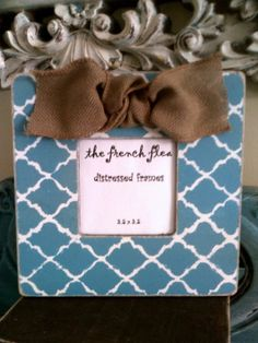Moroccan Style Distressed Picture Frame with Burlap Bow Customized in Your Choice of Color