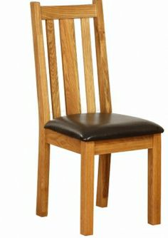vancouver petite oak dining chair with chocolate leather seat 2