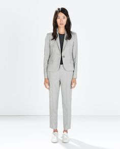 1 set cropped pantsuit in neutral tone of choice * (ZARA - MUJER - PANTALÓN TOBILLERO)
