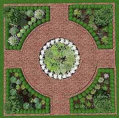 formal herb garden courtyard lay out - Google Search