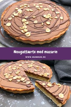 Nougat pie with mazarin Diabetic Desserts, Köstliche Desserts, Delicious Desserts, Baking Recipes, Cake Recipes, Cocktail Desserts, Danish Food, Pastry Cake, Pie Dessert