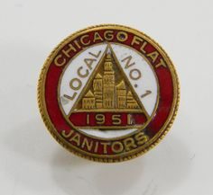 Chicago Flat Janitors 1957 Union Local No. 1 Lapel Pin Enamel on Metal Red White 11726 epsteam by QueeniesCollectibles on Etsy