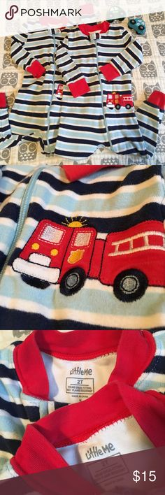 2T Fire Truck Pajamas by Little Me Two pairs of fire truck Pajamas by Little Me. Soft cotton. Perfect for twins or a little one who loves fire trucks! Long sleeves and pants. 2T, but I think this brand runs a little small. Bundle to save even more! Pajamas