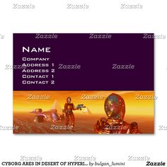 CYBORG ARES IN DESERT OF HYPERION Science Fiction Large Business Card  #robot #tech #scifi #3danimation #android #robotics #geek #nerd #comics