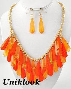 Glam Up Neon Orange Acrylic Beads Gold Statement Jewelry Necklace Earrings Set