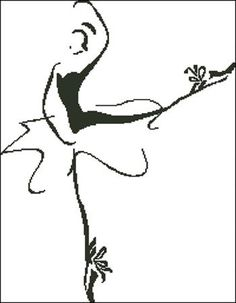 point de croix silhouette danseuse - cross stitch dancer silhouette