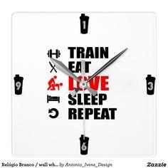 """Relógio Branco / wall white watch """"gymstyle"""" Relógio De Parede"""