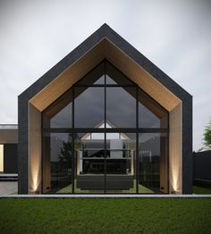 House by Alex Svyryd Modern Small House Design, Modern Barn House, Facade Design, Roof Design, Piscina Interior, Long House, Container House Design, Facade House, Home Fashion