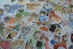 Stylish Animals Jumbo Pack 30 stickers by MonnyMeetu on Etsy