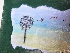 Watercolour background, pen dandelion clock, pvc glue on card