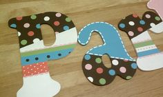 letters to match Pottery Barn Kids Coco Dot bedding