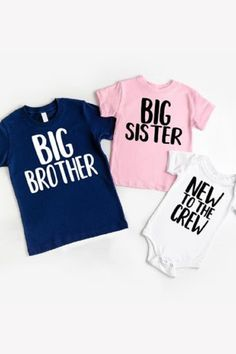 Sibling Shirts for 3, Sibling shirts for new baby, 3rd pregnancy Announcement, The crew, Sibling Shirts, Sister Shirts, Couple Shirts, Baby Shirts, Third Baby Announcements, Pregnancy Announcement Shirt, Dinosaur Shirt Womens, Big Little Shirts, Big Little Reveal