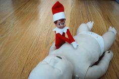 Elf on the Shelf does CPR - push hard, push fast!