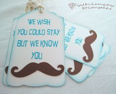 Mustache Favor Tag Must Dash Punny Wedding or by WhimseyDimples, $3.25