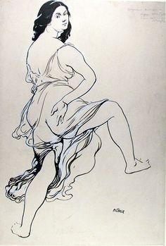 Bakst, Leon (1866-1924) - 1920c. Portrait of Isodora Duncan Dancing (The Ashmolean Museum, Oxford University, UK) by RasMarley, via Flickr