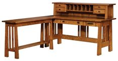 Amish Freemont Open Mission Desk with Return Table Imagine the Freemont in your office with extra room to work, handy compartments for storage and stunning solid wood style. Available in 3 sizes to best fit your space.