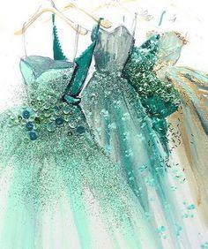 Dress Design Sketches, Fashion Design Drawings, Fashion Sketches, Fashion Artwork, Fashion Painting, Diy Doll Miniatures, Fashion Illustration Dresses, Paper Fashion, Illustration Mode