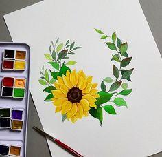 Drawing Flowers Sunflower Ideas For 2020 Sunflower Drawing, Sunflower Art, Sunflower Paintings, Pencil Art Drawings, Art Drawings Sketches, Watercolor Flowers, Watercolor Paintings, Drawing Flowers, Diy Painting