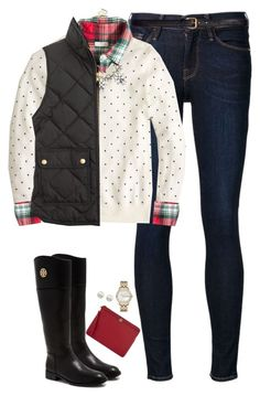 """""""Dots, plaid & vest with statement necklace"""" by steffiestaffie ❤ liked on Polyvore featuring Frame Denim, H&M, J.Crew, Tory Burch, Majorica and Marc Jacobs"""