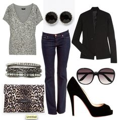 Outfit - sparkle tee + blazer + skinny jeans