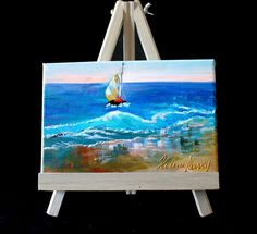 «Sailing» #Handpainted #Oil #painting on a #stretched #artlover #artist #buyart #special #goodprice #Canvas with small #easel   #Expressionism