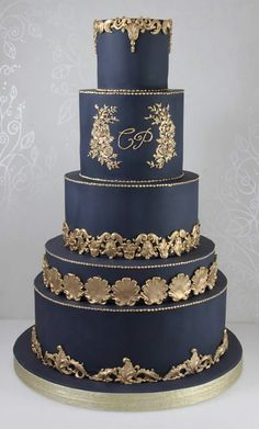 New cake wedding gold desserts ideas Indian Wedding Cakes, Black Wedding Cakes, Elegant Wedding Cakes, Elegant Cakes, Beautiful Wedding Cakes, Wedding Cake Designs, Beautiful Cakes, Cake Wedding, Wedding Gold