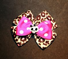 Pink Skull Bow Clip by MissSweetCheekz on Etsy, $5.00