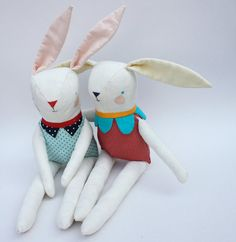 Red Suited White Bunny for Joey by FurnissTextiles on Etsy