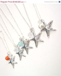 ON SALE Bridal Jewelry Beach Wedding Set of 5 Sterling Silver Starfish and Dangle Choice Necklaces on Etsy, $119.00