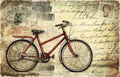 Estaba buscando postales vintage y he encontrado estas de bicicletas que me encantan y se ha colado una moto   Enlaces:   http://www.cuadros...