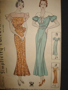 1930s Afternoon or Dinner Dress Simplicity 1479 NRA FF by kinseysue, $100.00