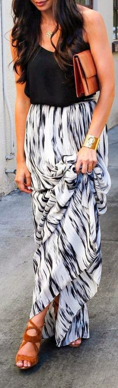 Absolutely LOVE this outfit. Perfect black and white detailed maxi dress with wedges. Great for the day, and add a leather jacket for the evening
