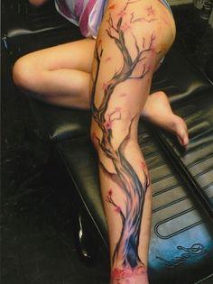 full leg tattoo designs of cherry blossom