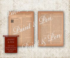 2Page Victorian Love Story Broken Heart  Visit http://www.PAINTandPEN.etsy.com for hundreds of designs and decor ideas!