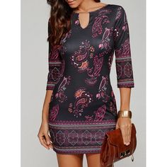 Keyhole Neck Paisley Dress