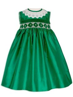 Flower Girls Silk Smocked Green Dress 24m/2T