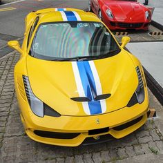 Best Sports Cars   :   Illustration   Description   Ferrari 458 Speciale painted in Giallo Modena Photo taken by: @blackfoxphotography on Instagram