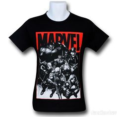 Marvel Armed Heroes and Logo Black T-Shirt