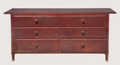 Shaker Tailoring Counter Estimate: $12,000 – $18,000 Birch and pine, original cranberry red painted finish, rectangular top board over two banks ...