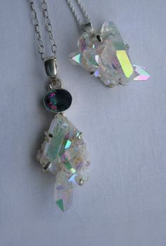 ANGEL AURA QUARTZ crystal cluster necklace - White iridescent finish, statement piece, triangle shape, sterling silver chain. No. 2