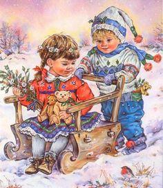 Children's illustrations by Christine Haworth Old Christmas, Christmas Scenes, Vintage Christmas Cards, Christmas Pictures, Vintage Pictures, Vintage Images, Cute Pictures, Vintage Greeting Cards, Vintage Postcards