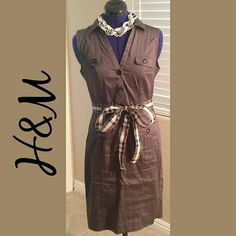H&M Dress NWOT - If classic beauty is your desire, checkout this beautiful dark grey button down dress by H&M! Whether it's a lunch date or a day out shopping, this beauty has it all!  *** Belt & Necklace NOT INCLUDED ***  Size - 8 98% Cotton 2% - Elastane H&M Dresses