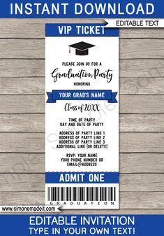 Party Ticket Invitations Graduation Party Ticket Invitations Template  Party Tickets Ticket .