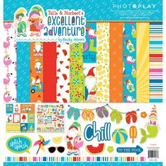 Photo Play Paper Tulla and Norberts Excellent Adventure 12 x 12 Collection Pack Beach Scrapbook Layouts, Scrapbook Paper, Scrapbooking, American Crafts, Crumpled Paper, Adventure Photos, Thing 1, Tiny Prints, Summer Memories
