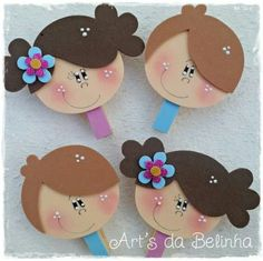 Brunette Girl Faces - Create A Character Series - Cute Digital Clipart - Commercial Use OK - Mix & Match Sets to Create Your Own Character Kids Crafts, Foam Crafts, Preschool Crafts, Diy And Crafts, Arts And Crafts, Paper Crafts, Create Your Own Character, Pencil Toppers, Kids And Parenting