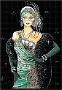 ART DECO CROSS STITCH CHART - GREEN FLAPPER LADY - PARTY GIRL   eBay