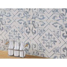 Lotto Ceramic Tile - 18 x 18 - 100411743 Blue Tile Backsplash Kitchen, Decorative Tile Backsplash, Splashback Tiles, Kitchen Cabinets, Backsplash Ideas, Ceramic Tile Bathrooms, Wood Bathroom, Bathroom Renos, Polished Porcelain Tiles